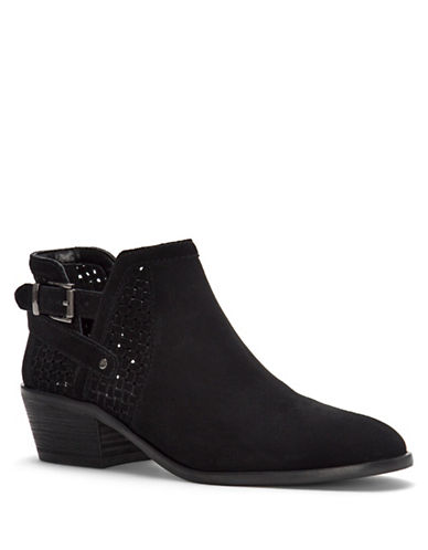 Vince Camuto Pamma Suede Ankle Boots-BLACK-9.5