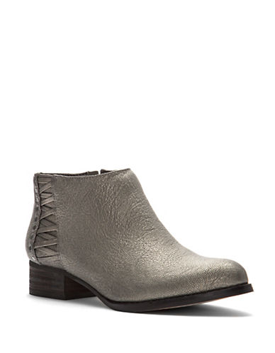 Vince Camuto Cateen Almond Toe Leather Booties-GREY-5.5