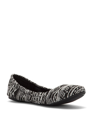 Lucky Brand Emmie Patterned Velvet Ballet Flats-BLACK-8.5