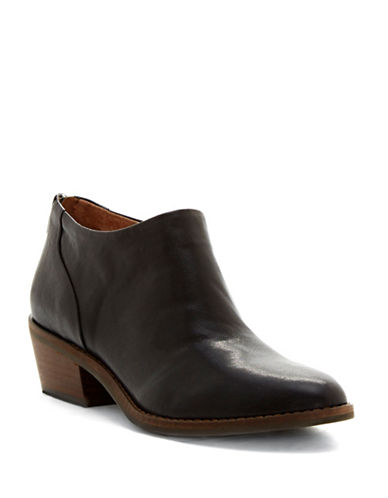 Lucky Brand Fai Block Heel Leather Booties-BLACK-6.5