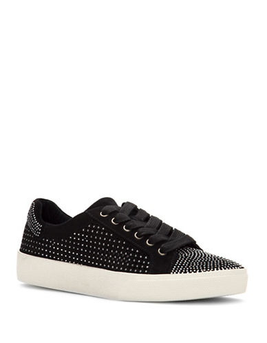 Vince Camuto Chenta Studded Suede Low-Top Sneakers-BLACK-5.5
