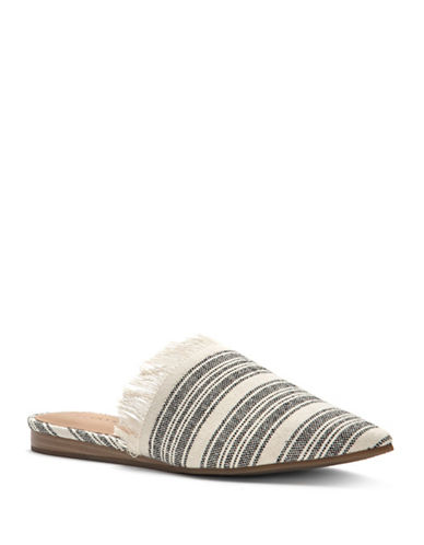 Lucky Brand Bapsee Striped Mules-BLACK/WHITE-7.5
