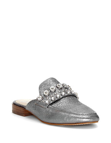 Vince Camuto Torlissi Flat Leather Mules-GUNMETAL-7.5