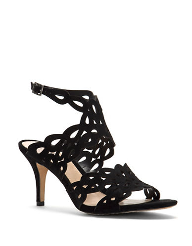 Vince Camuto Strappy Cutout Leather Sandals-BLACK-9