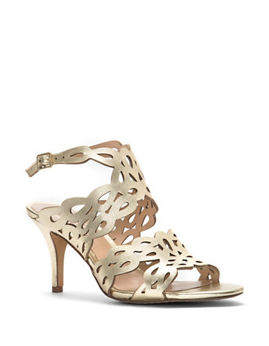 Vince Camuto Strappy Cutout Leather Sandals-GOLD-8