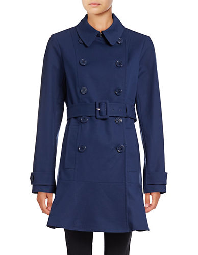 Kate Spade New York Spot Collar Oversized Button Trench Coat-NAVY-Medium