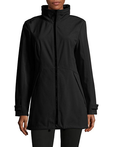 London Fog Fit-and-Flare Soft Shell Jacket-BLACK-Large 88857043_BLACK_Large