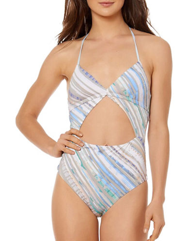 Dolce Vita Serengeti Splash Front Cut-Out One-Piece Swimsuit-CLOUD-Small