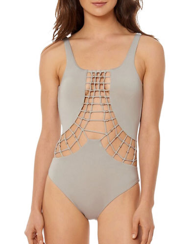 Dolce Vita Solids Macrame One-Piece Swimsuit-CEMENT-Medium