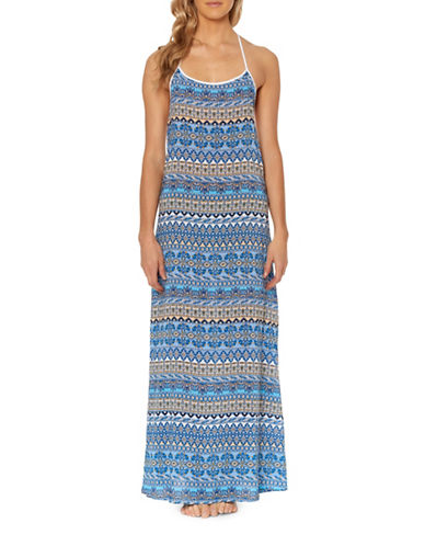 Jessica Simpson Versailles Printed Cover-Up Dress-NAVY-Medium