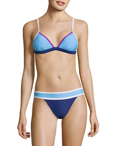 Design Lab Lord & Taylor Banded Colourblock Swim Bra-BARBADOS BLUE-Large
