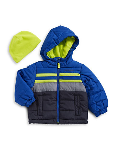 F.O.G. By London Fog Striped Water-Resistant Puffer Jacket-BLUE-18 Months
