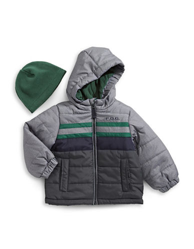 F.O.G. By London Fog Striped Water-Resistant Puffer Jacket-GREY-12 Months