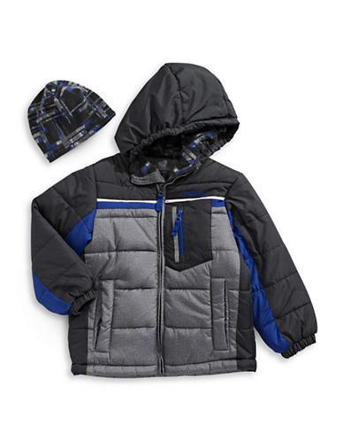 F.O.G. By London Fog Water-Resistant Quilt Jacket with Fleece Hat-GREY-5