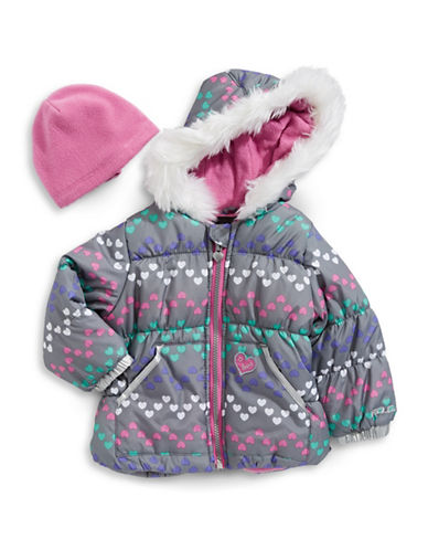 F.O.G. By London Fog Heart-Print Puffer Jacket with Hat-GREY-12 Months