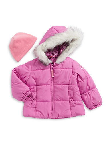 F.O.G. By London Fog Faux-Fur Hood Puffer Jacket with Hat-PINK-12 Months