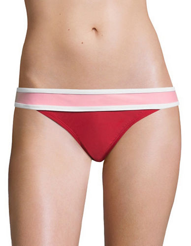 Design Lab Lord & Taylor Colourblock Banded Hipster Bottoms-SPICY-Large