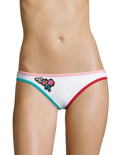 Design Lab Lord & Taylor Colourblock Binded Hipster Bottoms-WHITE-Large