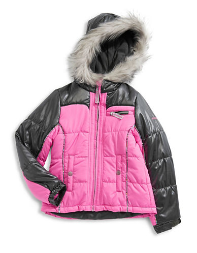 F.O.G. By London Fog Faux Fur Trimmed Jacket-PINK-12