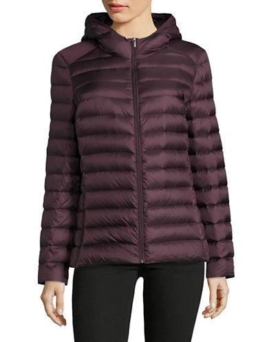 Design Lab Lord & Taylor Packable Down Puffer Jacket-PINOT-X-Large