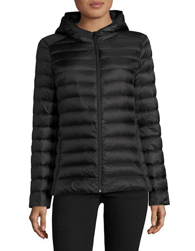 Design Lab Lord & Taylor Packable Down Puffer Jacket-BLACK-X-Large