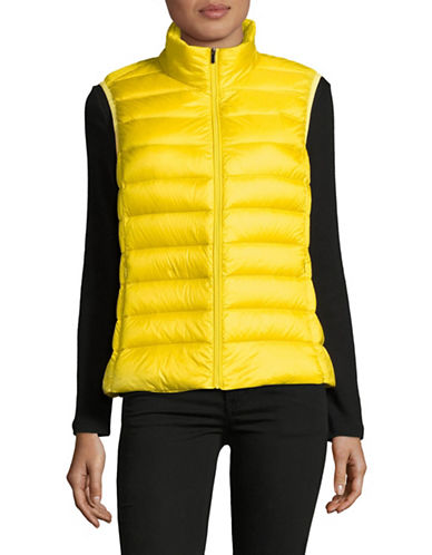 Design Lab Lord & Taylor Packable Down Puffer Vest-CITRON-Large
