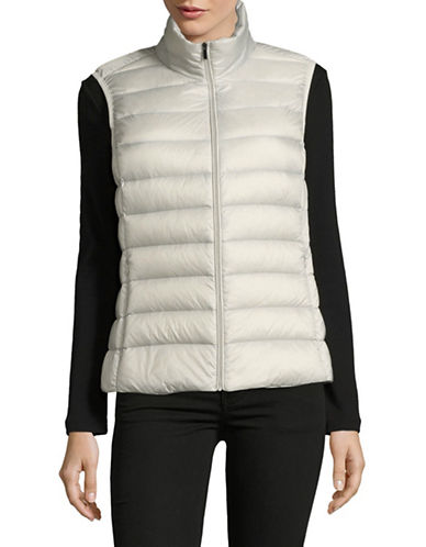 Design Lab Lord & Taylor Packable Down Puffer Vest-SILVER-Medium