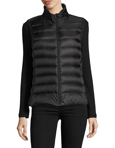 Design Lab Lord & Taylor Packable Down Puffer Vest-BLACK-Small