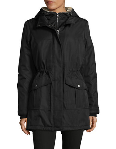 London Fog Hooded Gilet Anorak with Faux Fur-BLACK-Small