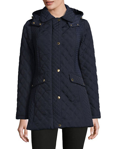 London Fog Hooded Quilted Jacket-NAVY-2X