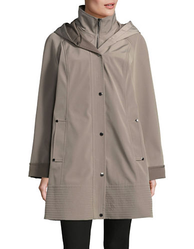 London Fog Hooded Rain Jacket with Bib-SAND-Large