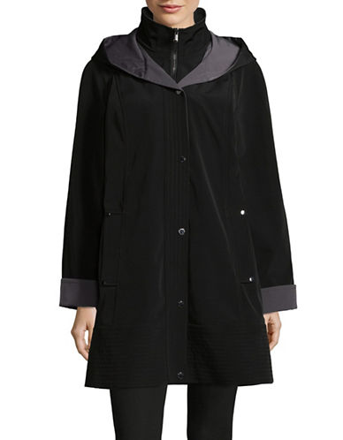 London Fog Hooded Rain Jacket with Bib-BLACK-X-Small