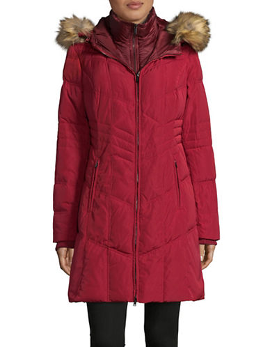 London Fog Faux Fur Hooded Down Jacket-CARMINE-Large