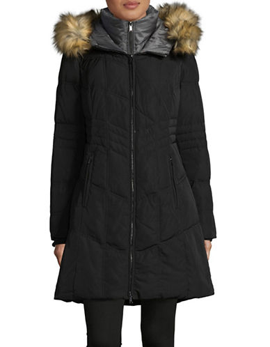 London Fog Faux Fur Hooded Down Jacket-BLACK-X-Large 89285273_BLACK_X-Large