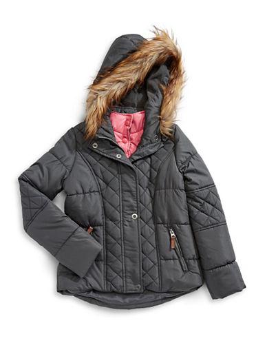 F.O.G. By London Fog Faux-Fur Trim Hooded Coat-GREY-14