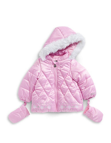 F.O.G. By London Fog Hooded Coat with Mittens-PINK-18 Months