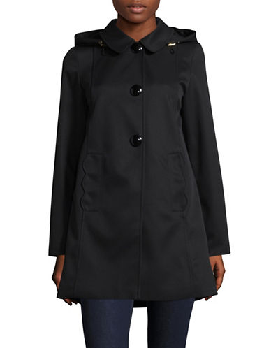 Kate Spade New York Hooded A-Line Rain Jacket-BLACK-X-Large