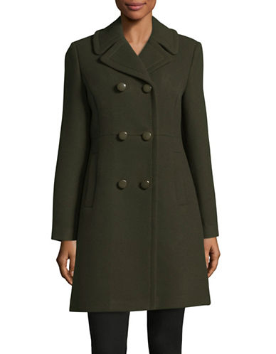 Kate Spade New York Military Twill Double-Breasted Coat-GREEN-Medium