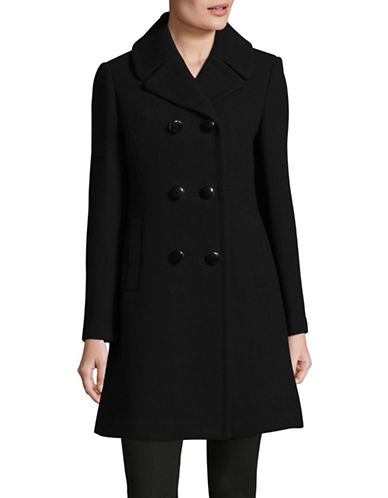 Kate Spade New York Military Twill Double-Breasted Coat-BLACK-Medium