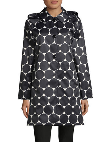 Kate Spade New York Hooded Dot Raincoat-BLACK-X-Small