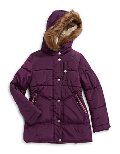 Jessica Simpson Elasticized Faux Fur Trim Hooded Parka-RED-10