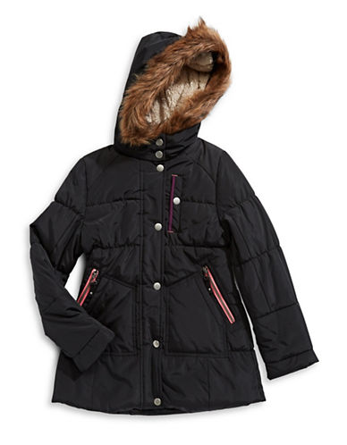 Jessica Simpson Elasticized Faux Fur Trim Hooded Parka-BLACK-14