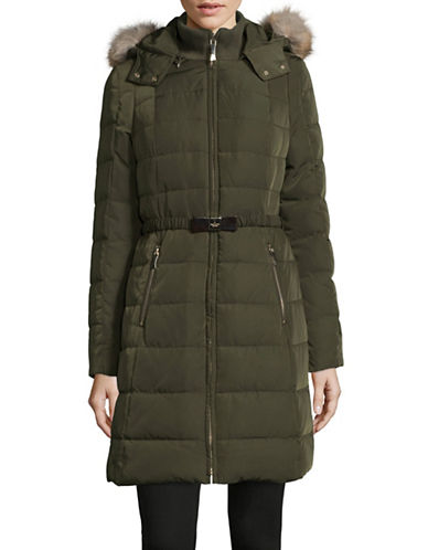 Kate Spade New York Faux-Fur Trim Belted Down Walker Jacket-GREEN-Small