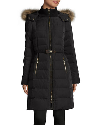 Kate Spade New York Faux-Fur Trim Belted Down Walker Jacket-BLACK-X-Small 89315102_BLACK_X-Small