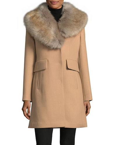 Kate Spade New York Faux-Fur Collar Twill Walker Jacket-BEIGE-Small