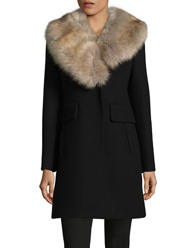 Kate Spade New York Faux-Fur Collar Twill Walker Jacket-BLACK-X-Small