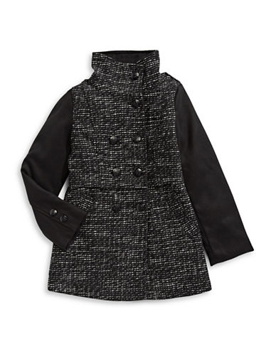 Jessica Simpson Tweed Military Jacket-BLACK-8