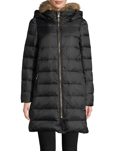 Kate Spade New York Channeled Down Faux-Fur Parka-BLACK-Small