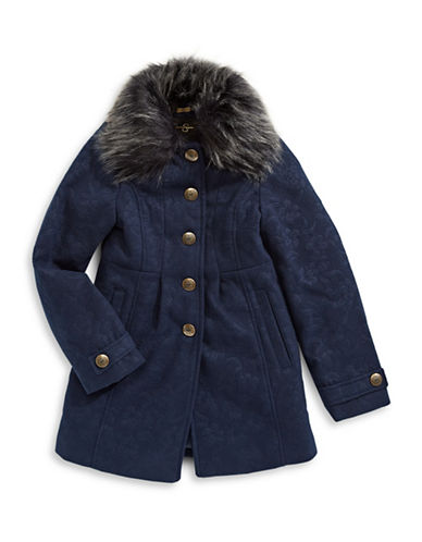 Jessica Simpson Embossed Flared Coat with Furry Collar-BLUE-14