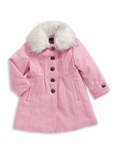 Jessica Simpson Embossed Floral Coat-PINK-6